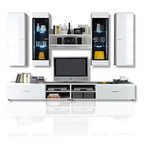 roller wohnwand pace wei hochglanz mit beleuchtung. Black Bedroom Furniture Sets. Home Design Ideas