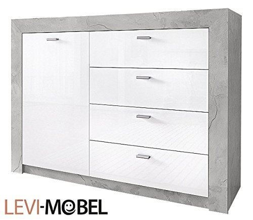 sideboard wohnzimmer wohnwand anbauwand beton optik wei hochglanz neu 212962 g nstig online. Black Bedroom Furniture Sets. Home Design Ideas