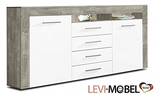 sideboard wohnzimmer wohnwand beton optik wei matt ausstellungsstck 333787 0 wohnw nde. Black Bedroom Furniture Sets. Home Design Ideas