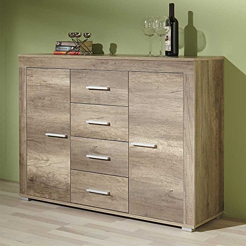 sideboard in eiche tr ffel 120 cm breit pharao24 g nstig. Black Bedroom Furniture Sets. Home Design Ideas