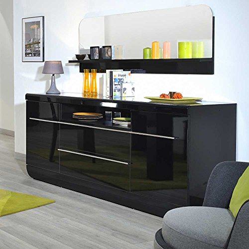 sideboard in schwarz hochglanz 200 cm breit pharao24 wohnw nde m bel24. Black Bedroom Furniture Sets. Home Design Ideas
