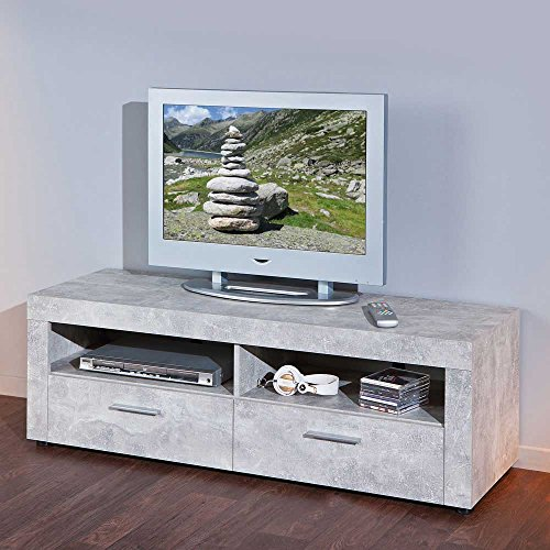 tv lowboard in grau betonoptik pharao24 g nstig online kaufen wohnw nde. Black Bedroom Furniture Sets. Home Design Ideas