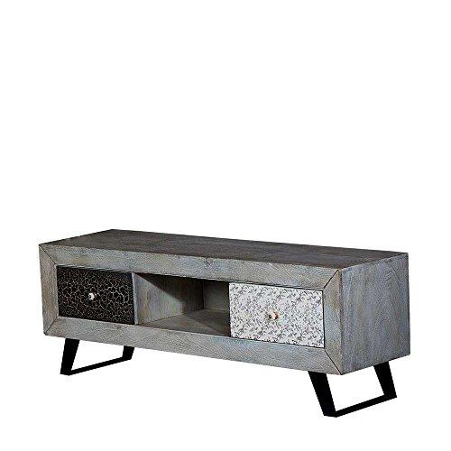 tv lowboard in grau holz massiv mit craquele verzierung pharao24 m bel24. Black Bedroom Furniture Sets. Home Design Ideas