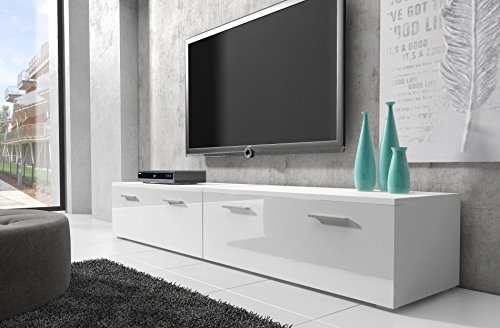 tv m bel lowboard schrank st nder boston korpus wei front wei hochglanz 200 cm g nstig online. Black Bedroom Furniture Sets. Home Design Ideas