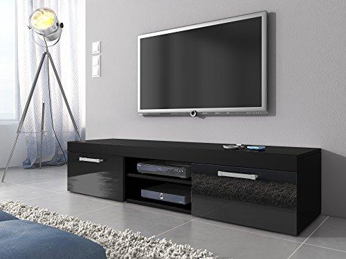 tv mbel lowboard schrank stnder mambo schwarz mattschwarz hochglanz 160 cm 0 wohnw nde. Black Bedroom Furniture Sets. Home Design Ideas
