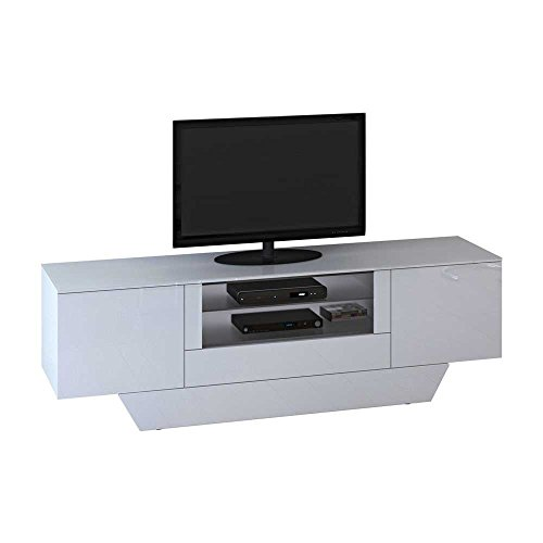 tv sideboard in wei hochglanz glas pharao24 g nstig online kaufen m bel24 wohnw nde. Black Bedroom Furniture Sets. Home Design Ideas