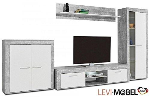 wohnwand 4 tlg anbauwand wohnzimmer schrank beton optik wei matt neu 765788 g nstig online. Black Bedroom Furniture Sets. Home Design Ideas