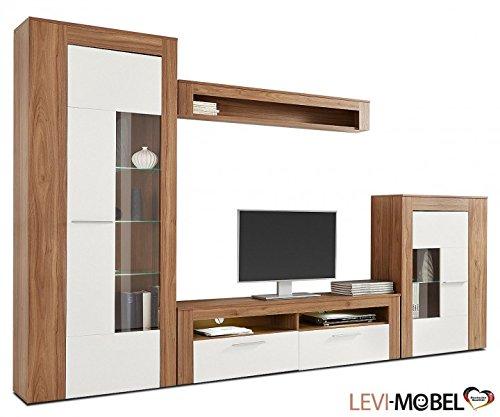 wohnwand 4 tlg wohnzimmer anbauwand amerikanisch nussbaum wei matt neu 243203 g nstig online. Black Bedroom Furniture Sets. Home Design Ideas