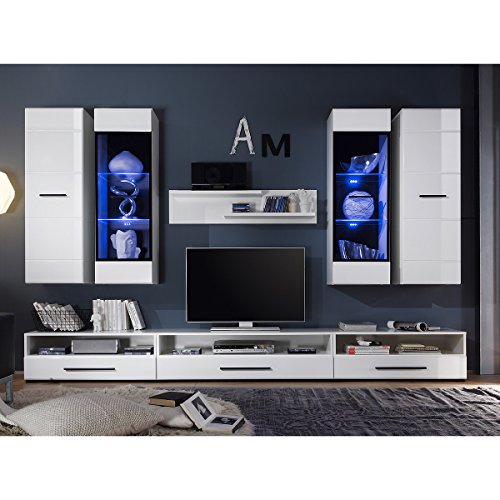 wohnwand attenzione anbauwand wei hochglanz mit led g nstig online kaufen m bel24 wohnw nde. Black Bedroom Furniture Sets. Home Design Ideas