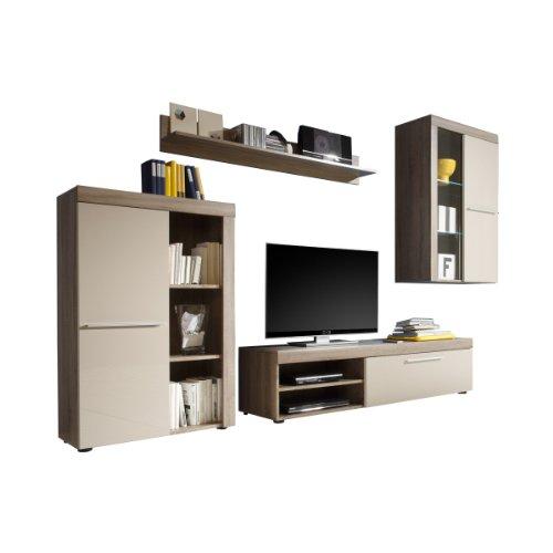 wohnwand anbauwand schrankwand lindholm eiche tr ffel sonoma grau breite 296 cm tiefe 43 cm h he. Black Bedroom Furniture Sets. Home Design Ideas