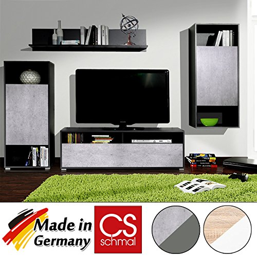 wohnwand anbauwand schrankwand wohnzimmerschrank mediawand cs schmal made in germany. Black Bedroom Furniture Sets. Home Design Ideas