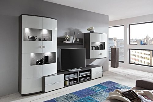 wohnwand 39 circle 3 39 hochglanz lackiert wei grau. Black Bedroom Furniture Sets. Home Design Ideas