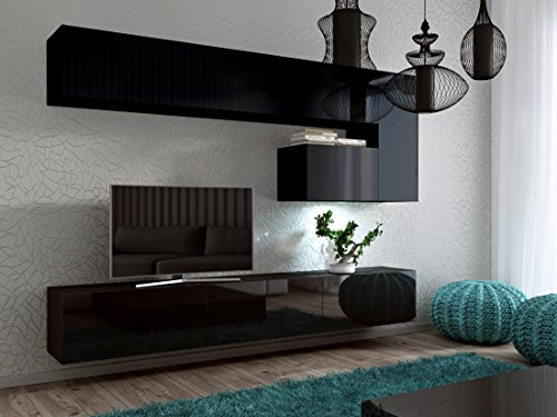 wohnwand future 15 anbauwand hochglanz matt schwarz hochglanz led blau 0 m bel24. Black Bedroom Furniture Sets. Home Design Ideas