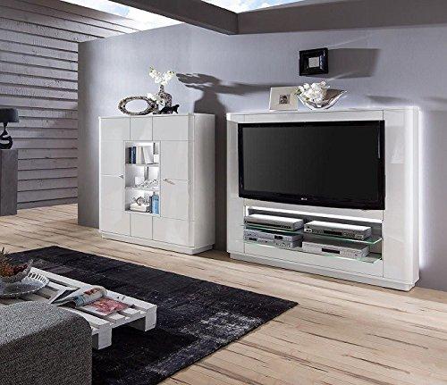 wohnwand 39 quadra 3 39 hochglanz lackiert wei vormontiert mediawand g nstig online kaufen wohnw nde. Black Bedroom Furniture Sets. Home Design Ideas