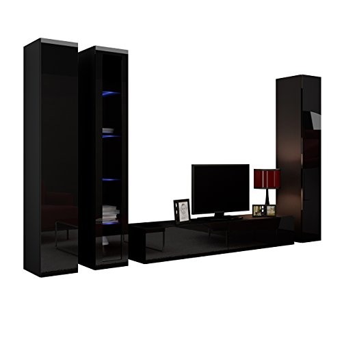 wohnwand vigo ii anbauwand modernes wohnzimmer set mediawand glasvitrine h ngeschrank tv. Black Bedroom Furniture Sets. Home Design Ideas