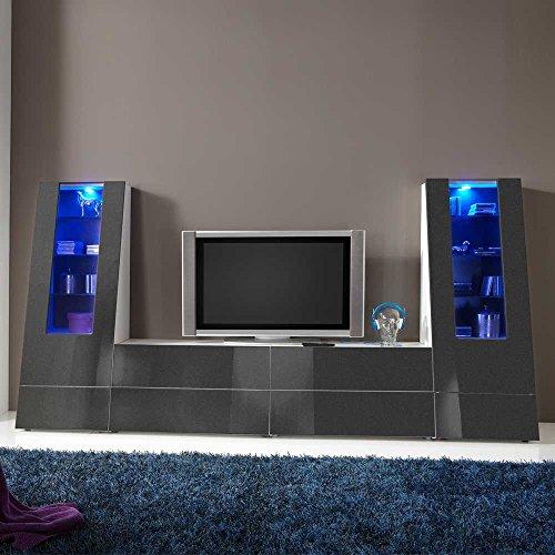 wohnwand in anthrazit hochglanz modern 4 teilig pharao24. Black Bedroom Furniture Sets. Home Design Ideas