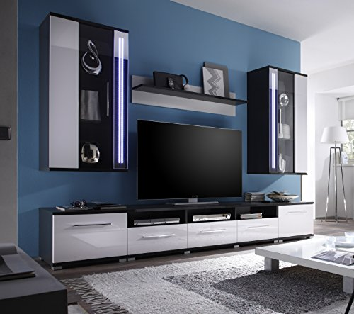 wohnwand weiss hochglanz grau mit beleuchtung g nstig online kaufen wohnw nde. Black Bedroom Furniture Sets. Home Design Ideas