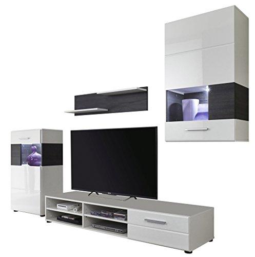 trendteam 1566 001 14 wohnwand wei hochglanz absetzungen pinie braun nachbildung bxhxt. Black Bedroom Furniture Sets. Home Design Ideas