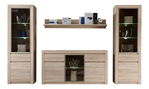 trendteam sv95745 wohnwand kombination eiche sonoma hell. Black Bedroom Furniture Sets. Home Design Ideas