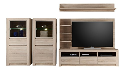 trendteam sv96345 wohnwand wohnzimmerschrank eiche sonoma hell bxhxt 312x156x51 cm g nstig. Black Bedroom Furniture Sets. Home Design Ideas