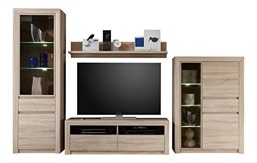 trendteam sv96745 wohnwand wohnzimmerschrank eiche sonoma. Black Bedroom Furniture Sets. Home Design Ideas