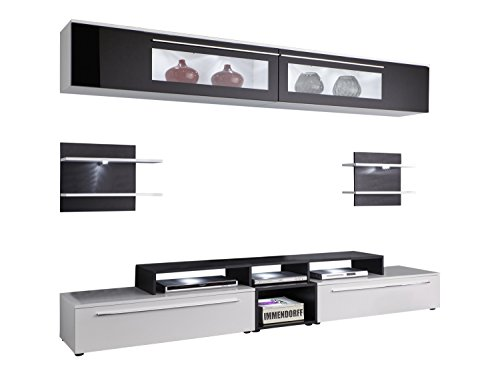 trendteam tp00102 tv m bel wohnwand weiss schwarz glas. Black Bedroom Furniture Sets. Home Design Ideas