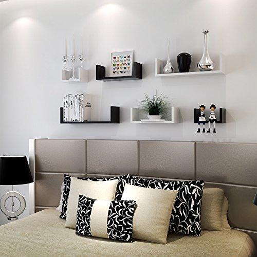 songmics regal 3er set wandregal mdf holz tiefe 15 cm 60 45 30 cm wei u form wandboard. Black Bedroom Furniture Sets. Home Design Ideas