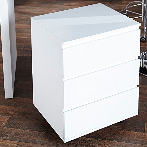 """BÜRO ROLLCONTAINER """"MOVE"""" Schreibtisch Regal aus Holz hochglanz weiss von Xtradefactory"""