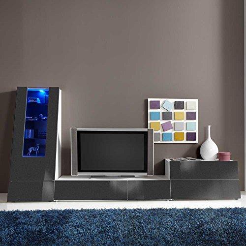 schrankwand in anthrazit hochglanz modern 3 teilig pharao24 g nstig online kaufen wohnw nde. Black Bedroom Furniture Sets. Home Design Ideas