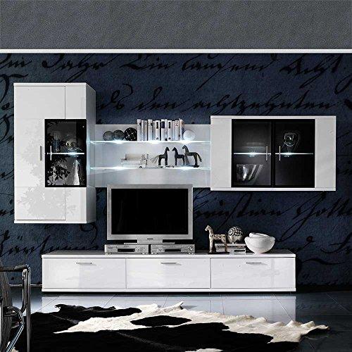 tv schrankwand in wei hochglanz beleuchtung 4 teilig. Black Bedroom Furniture Sets. Home Design Ideas