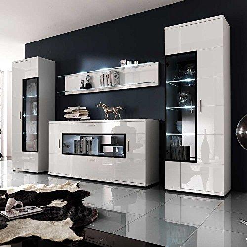 wohnwand in hochglanz wei glas 4 teilig pharao24. Black Bedroom Furniture Sets. Home Design Ideas