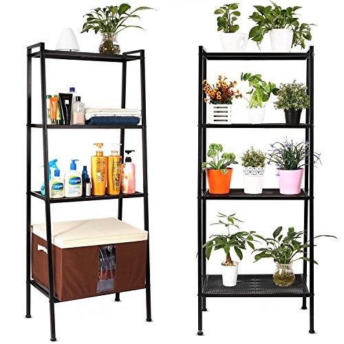 HOMFA Bücherregal Metall Regal Leiterregal Treppenregal Standregal Badregal StufenregalPflanzenregal mit 4 Böden 60x35x147cm perfekt für Bücher, Pflanzen, Deko etc.