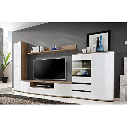 justhome onteria ii wohnwand anbauwand schrankwand hxbxt 180x340x48 cm san remo wei. Black Bedroom Furniture Sets. Home Design Ideas