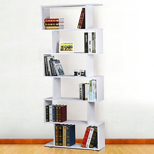 Popamazing 6 Etagen 192 cm hoch Schrank weiß Bücherregal Hochglanz Raumteiler Regal Magazin Buch Halter Holz DVD/CD Rack Standregal Bücherregal