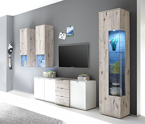 rocco sandeiche weiss anbauwand wohnwand wohnschrank ca 250 cm breit lowboard mulimedia tv. Black Bedroom Furniture Sets. Home Design Ideas
