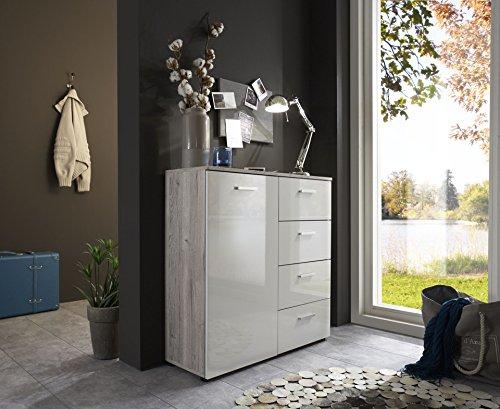 schubladen kommode sideboard anrichte marbella in sandeiche mit hochglanz wei fronten made in. Black Bedroom Furniture Sets. Home Design Ideas