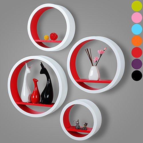 woltu 291 wandregal rund mdf holz b cherregal h ngeregal wandboard cd regal g nstig online. Black Bedroom Furniture Sets. Home Design Ideas