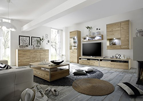 wohnwand massivholz anbauwand ast eiche bianco ge lt verschiedene kombinationen g nstig. Black Bedroom Furniture Sets. Home Design Ideas
