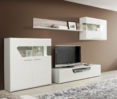 wohnwand weiss mit sandeiche weiss hochglanz g nstig online kaufen wohnw nde. Black Bedroom Furniture Sets. Home Design Ideas