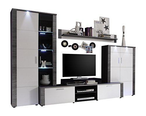 wohnzimmer wohnwand wei esche grau anbauwand schrankwand tv schrank vitrine g nstig online. Black Bedroom Furniture Sets. Home Design Ideas