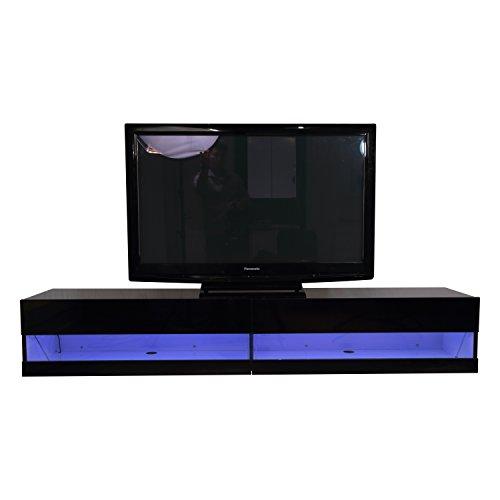 homcom tv lowboard led fernsehtisch tv board fernsehschrank mit beleuchtung wandmontage mdf. Black Bedroom Furniture Sets. Home Design Ideas