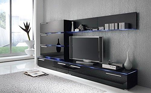 Anbauwand 7-tlg. Hochglanz schwarz, 2x TV-Element, 3x Hängeschrank, 3x Zwischenelement, 2x Glasbodenpaneel, Mindestb.: ca. 300 cm, Tiefe: ca. 40 cm