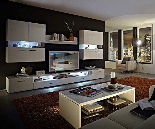 wohnwand in wei hochglanz u wei gl zend mit 2 h ngevitrinen wandboard 2 unterteile u tv. Black Bedroom Furniture Sets. Home Design Ideas