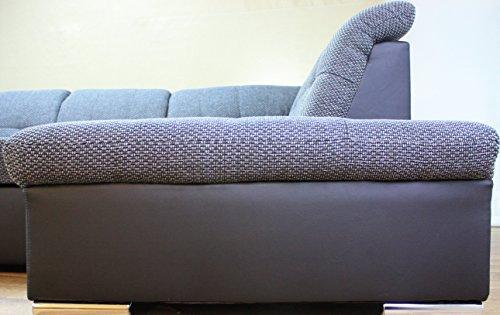 wohnlandschaft rico mit schlaffunktion und bettkasten wei ottomane rechts g nstig online kaufen. Black Bedroom Furniture Sets. Home Design Ideas