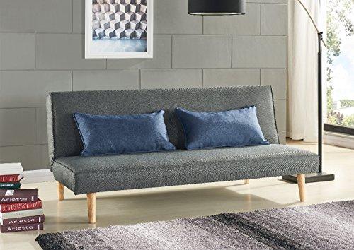 sofa f r b ro schlafsofa klappbar grau und 2 blaue kissen m bel24 dein m bel preisvergleich