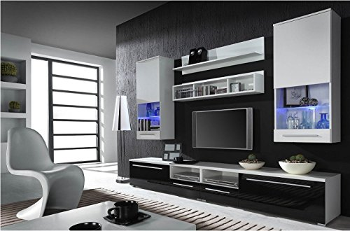 wohnwand komplett 39 luna 39 hochglanz wohnzimmer tv wand. Black Bedroom Furniture Sets. Home Design Ideas