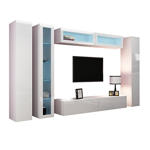wohnwand vigo vi anbauwand modernes wohnzimmer set mediawand glasvitrine h ngeschrank tv. Black Bedroom Furniture Sets. Home Design Ideas