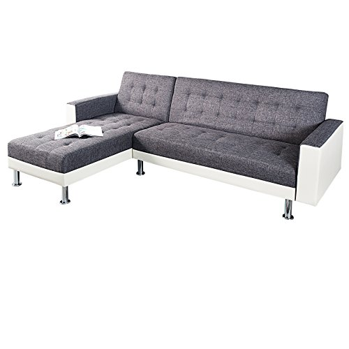 design ecksofa chaise lounge wei anthrazit mit schlaffunktion ottomane beidseitig aufbaubar. Black Bedroom Furniture Sets. Home Design Ideas