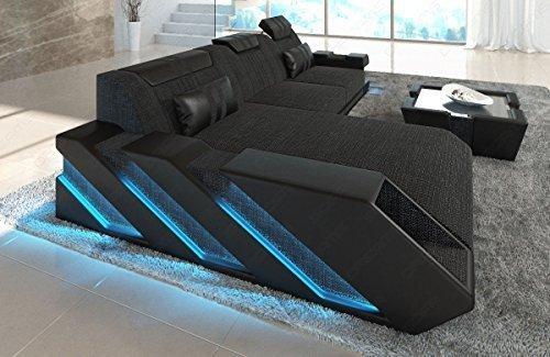 Stoffsofa Designersofa im Stoffmix Apollonia L Form mit LED Beleuchtung