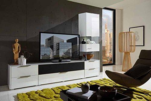 4 tlg wohnwand in hochglanz wei grau mit akustik f chern und led beleuchtung gesamtma b t ca. Black Bedroom Furniture Sets. Home Design Ideas